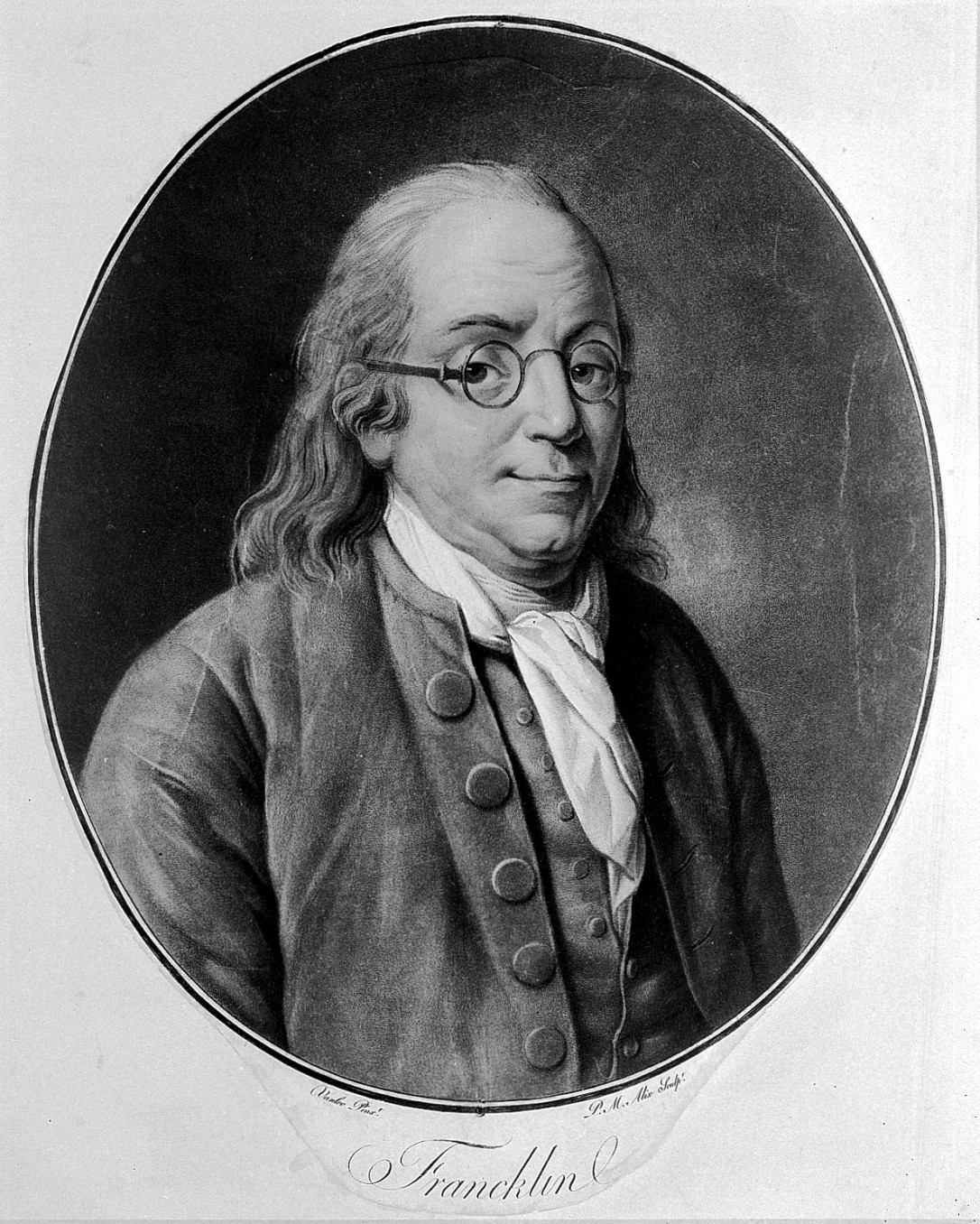 L0005542 Benjamin Franklin. Coloured aquatint by P. M. Alix, 1790, af