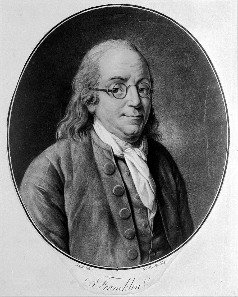 L0005542 Benjamin Franklin. Coloured aquatint by P. M. Alix, 1790, af